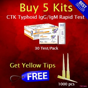 Get 1000pcs Yellow tips FREE with purchase of 5Kits CTK Typhoid IgG/IgM Rapid Test
