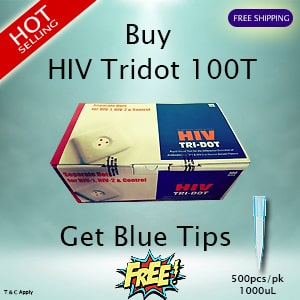 500pcs Blue Tips FREE with purchase of HIV Tridot 100Test/pk